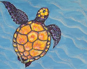 Turtle Swimming Art Print