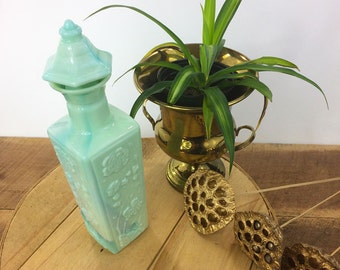Jade Green Slag Glass Liquor Bottle//Jim Beam Collectable Decanter