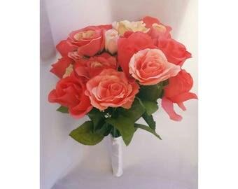 coral bouquet coral wedding bouquet coral bridal bouquet coral bridesmaids bouquet peach bouquet peach wedding bouquet
