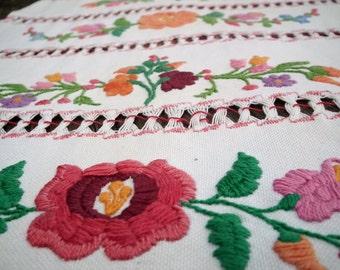BEAUTUFUL Floral Kalocsa WALL Hanging Traditional Hungarian Flower Embroidery