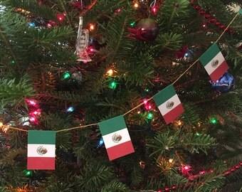 Mexico Flag Garland- Christmas Decoration - Paper - 7 feet