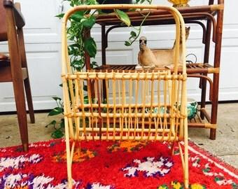 Vintage 1970s Bamboo  Rattan Magazine Rack - Blanket Holder -Boho Decor