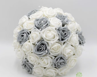 Artificial Wedding Flowers, Grey & White Rose Brides Bouquet Posy