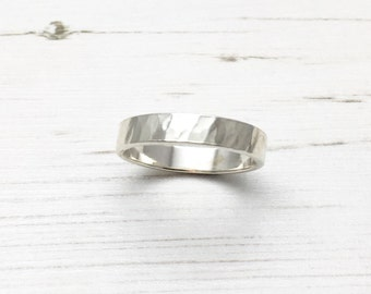 Silver Hammered Ring, Silver Hammered Band, Silver Mens Ring, Hammered Mens Ring, Wedding Ring, Mens Wedding Ring