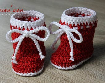 Baby shoes / baby boots Santa with cord red white 0-3 months