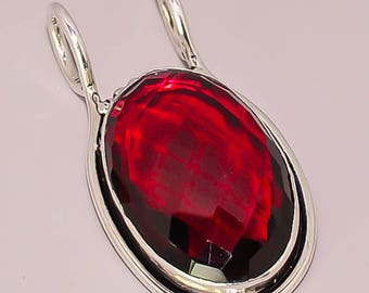 158 Faceted Garnet Beautiful Design 925 Sterling Silver Plated Jewelry Pendant