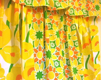 Vintage Flower Power Hippie 1960's Curtains With Valance