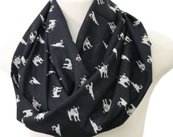 French Bulldog Scarf Infinity Scarf Frenchie scarf Black Dog Scarf Animal Print Scarf Women Fashion Accessories birthday Gift for Her spring
