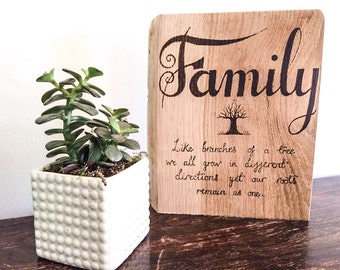 Pyrography Family wall art, family tree quote wall art wood burned on rustic reclaimed oak, family quote wall art, rustic boho home decor