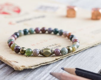 6mm - Indian agate beaded stretchy bracelet with bronze beads, mens bracelet, womens bracelet, green bead bracelet, natural bead bracelet