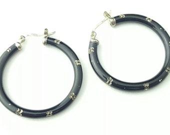 Vintage Sterling Silver and Black Enamel Elegant Patterned Hinge Hoop Earrings