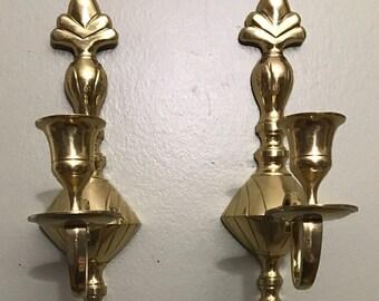 Brass Wall Sconces Vintage Brass Sconces Pair of Sconces  Brass Wall Decor Candle Sconces