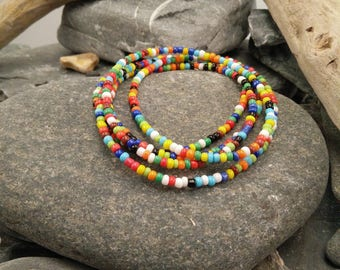Bright Multi Coloured Seed Bead Wrap Bracelet - Colourful Seed Bead Necklace - Beaded Wrap Bracelet - Beaded Necklace - Two Way Jewellery