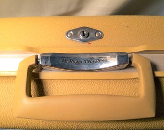 Vintage Royal Traveller Suitcase Retro, Travel, Luggage, Vintage Luggage, Vintage, Dark Yellow, Hardcase Luggage, Suitcase, Traveling,