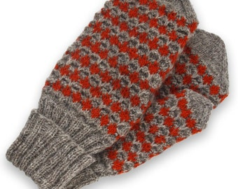 Mittens hand knit, wool double mittens, wool mittens, Christmas gift mittens, grey mittens, winter mittens, women mittens size XS
