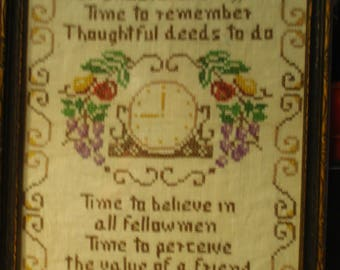 "Vintage embroidery /cross stitch sampler. ""Give me time....."" Vintage embroidery /cross stitch sampler"