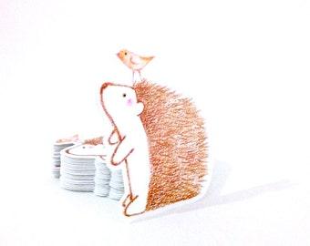 Cute hedgehog vinyl sticker die cut laptop sticker woodland animal decal unique gift for kids for sticker lovers illustration animal sticker
