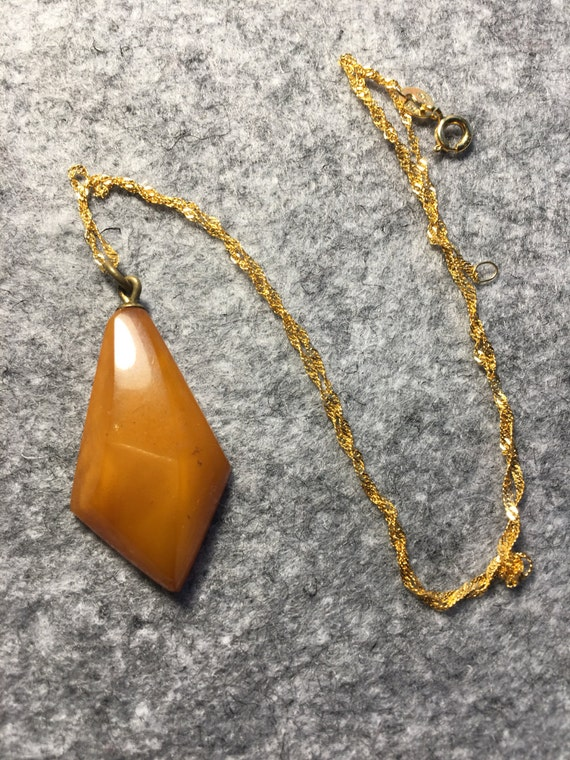 Antique natural amber pendent with Gold-plated silver chain