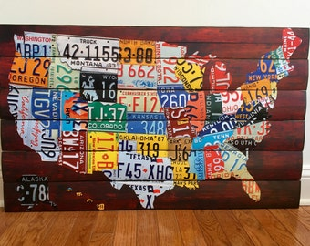 Wooden United States License Plate Map MADE TO ORDER - Wooden wall decor - Wooden wall art