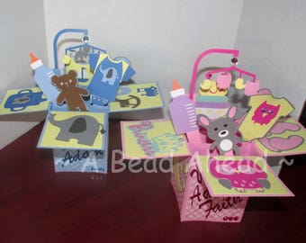 Custom Unique Box Centerpieces, Baby Shower, Birthday, Graduation, Mother's day, Father's Day, Decoration, ornimental, Dimensional, supplies