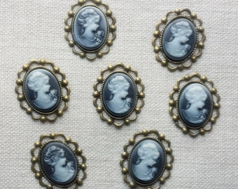 7 Black cameo, antique bronze frame, flat backing, vintage style
