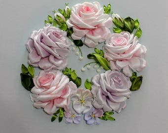 3d Pretty Rose Ribbon Embroidery Artwork Flower Bouquet Wall Hanging Art Textile Romantic Bedroom Wedding Gift Home Decor Embroidery Picture