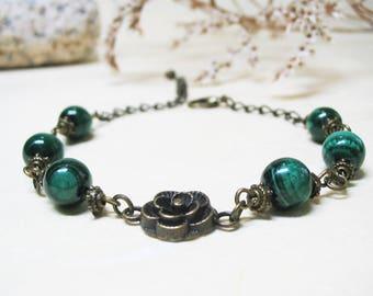 Malachite Bracelet Heart Chakra Bracelet Vintage Bracelet Gemstone Bracelet Romantic Bracelet Ethnic Bracelet Love Bracelet Gift for Her