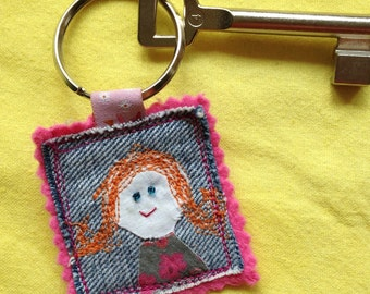 Key fob woman can find key, upcycling textile collage