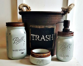 mason jar bathroom set 4 piecerustic grey blue green - Bathroom Accessories Etsy