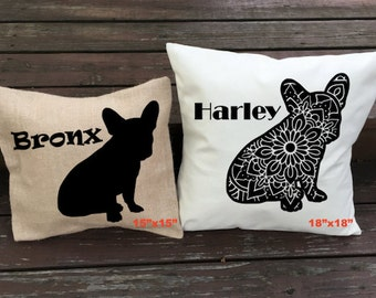 Personalized French Bulldog Pillow - Silhouette Pillow - Dog Pillow Cover - Burlap Pillow - Home Decor - Decorative Pillow - Dog Decor