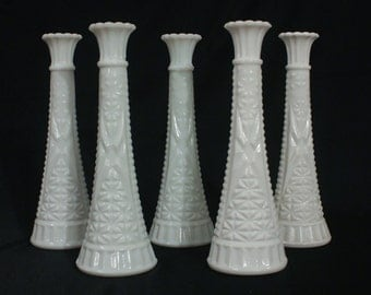 Vintage Set of 5 Milk Glass Bud Vases