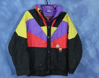 Vintage 90s Color Block Ski Jacket // Puffer Winter Coat // Misty Valley // Red Yellow Purple