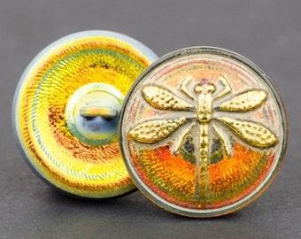 Czech Glass Button - Dragonfly Button - Button Clasp - Golden Orange Antiqued with Gold Paint - 18mm Button
