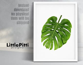 Monstera leaf, tropical decor, tropical leaf print, green wall decor, large poster, monstera print, digital download, tropical wall art