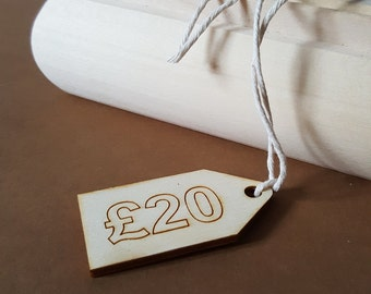 wooden price tags - set of 20