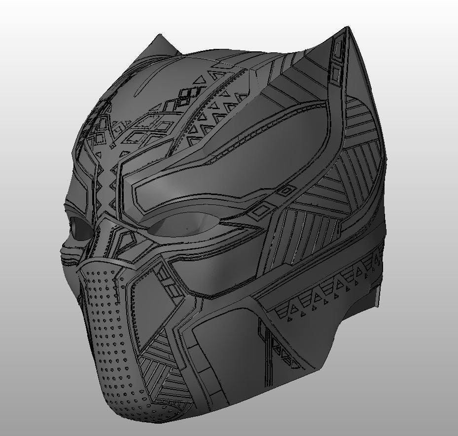black panther helmet from captain america civil war for 3d printing from necrosster on etsy studio. Black Bedroom Furniture Sets. Home Design Ideas