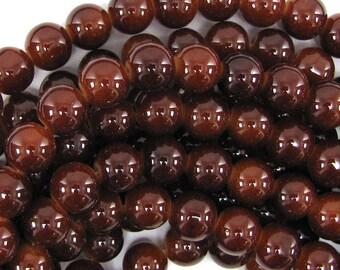 "10mm glass round beads 14.5"" strand brown 30839"