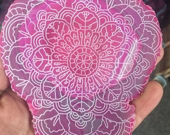 Gorgeous Laser Engraved Agate Mandala for Altar or Sacred Space Crystal Magic