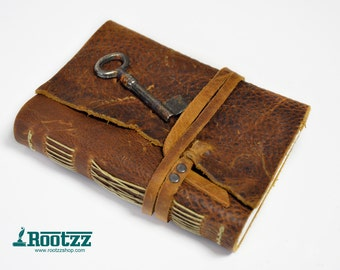 Leather vintage journal with a skeleton key - leather book - diary - leather journal