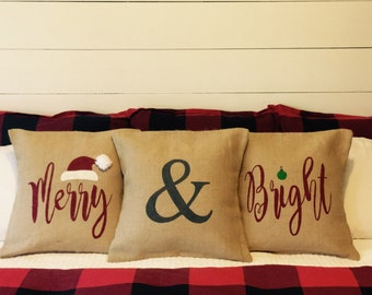 Merry and Bright pillow set, Christmas pillows, Holiday pillows, Burlap pillows