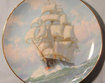 """Golden Age of Clipper Ships """"Golden Eagle Conquers Wind"""" Collector's Plate - NIB"""