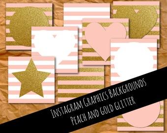 Instagram graphics, peach and gold, glitter, graphics, Instagram template, Instagram images, Instagram photos, branding, digital
