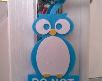 DO NOT DISTURB childs Owl door hanger, suitable for birthday, Christmas or anytime gift / keepsake