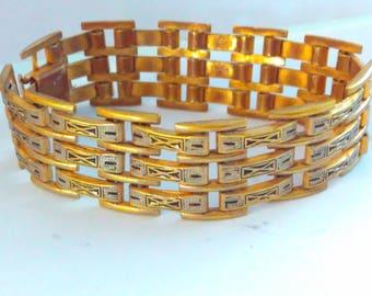 Vintage, Damascene, Toledo, bracelet, vintage bracelet, triple link bracelet, vintage Damascene bracelet, Damascene bracelet, bracelet