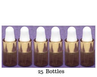 25 count 2 ml  upscale amber bottles white rubber bulb eye dropper