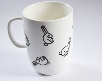 Mug Rabbit Illustration - Black and White Hand-painted