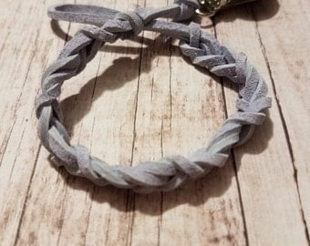 Pacifier/ Nuk/ Binky Braided Clip Gray