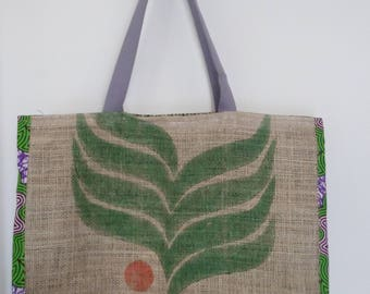 Large tote or bag of beach in recycled jute cloth and wax