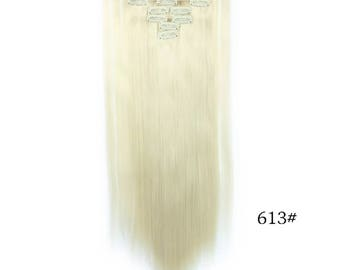 "Straight 20"" Clip In Hair Extensions #613 Blonde    HE3"