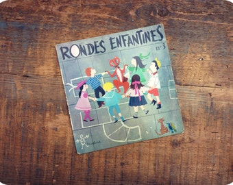 45 t - childish round 3 - french - songs for children - vintage Vinyl record